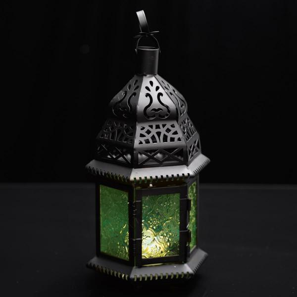 Moroccan Hanging Metal Lantern - Green Embossed Glass