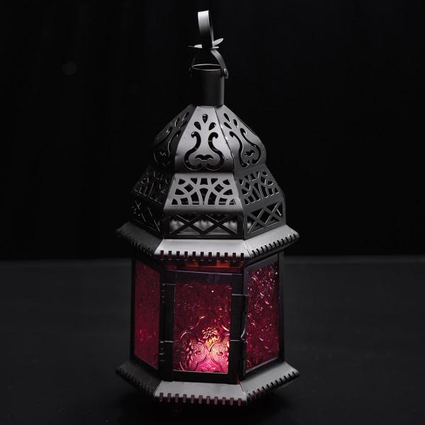 Moroccan Hanging Metal Lantern - Red Embossed Glass