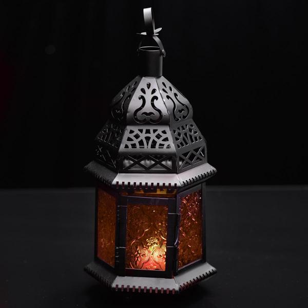 Moroccan Hanging Metal Lantern - Orange Embossed Glass