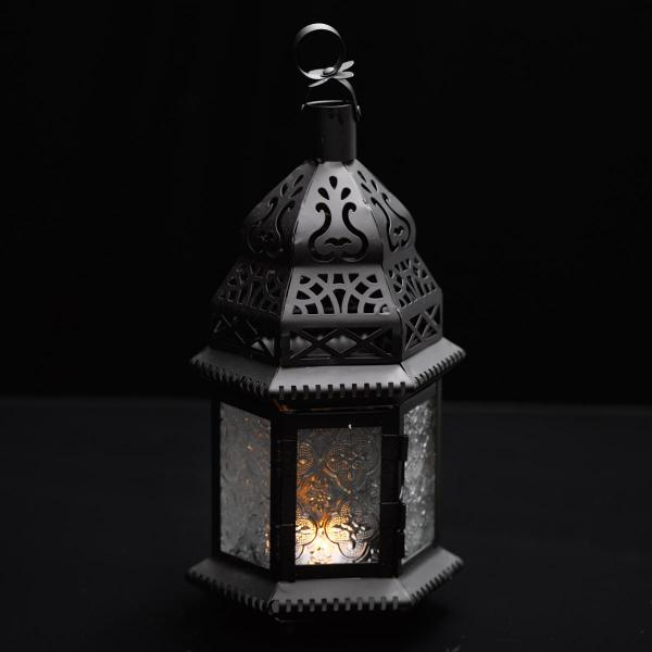 Moroccan Hanging Metal Lantern - Clear Embossed Glass