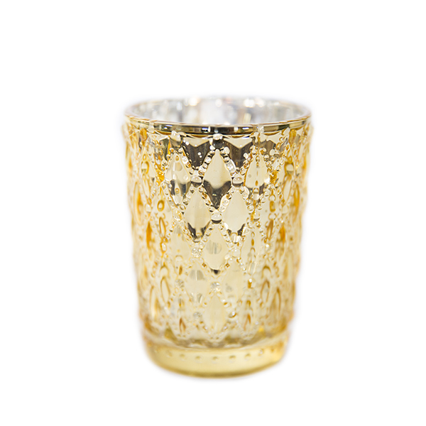 DecoStar: 3 1/2'' Glam Small Diamond Etched Mercury Glass Candle/Votive Holder - Gold - 6 PACK