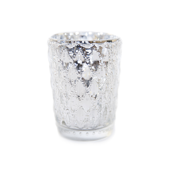 DecoStar: 3 1/2'' Glam Small Diamond Etched Mercury Glass Candle/Votive Holder -Silver - 6 PACK