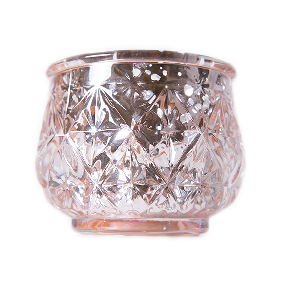 DecoStar: 2 1/2'' Glam Diamond Etched Mercury Glass Candle/Votive Holder - Champagne - 6 PACK