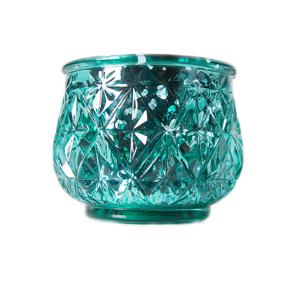 DecoStar: 2 1/2'' Glam Diamond Etched Mercury Glass Candle/Votive Holder - Green - 6 PACK