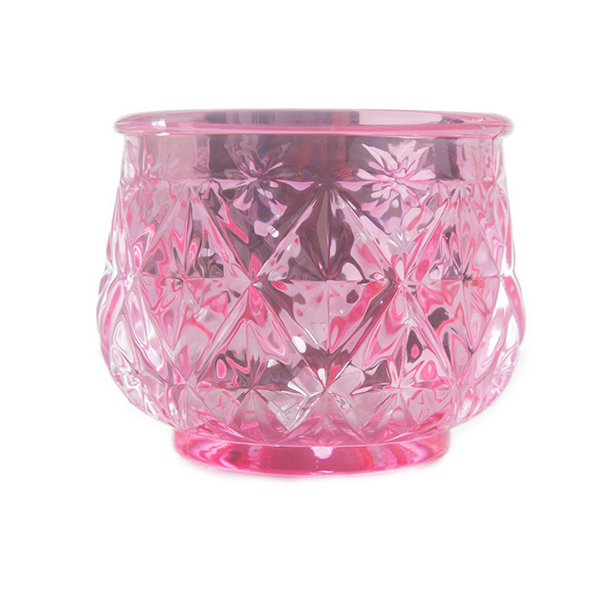 DecoStar: 2 1/2'' Glam Diamond Etched Mercury Glass Candle/Votive Holder - Pink - 6 PACK