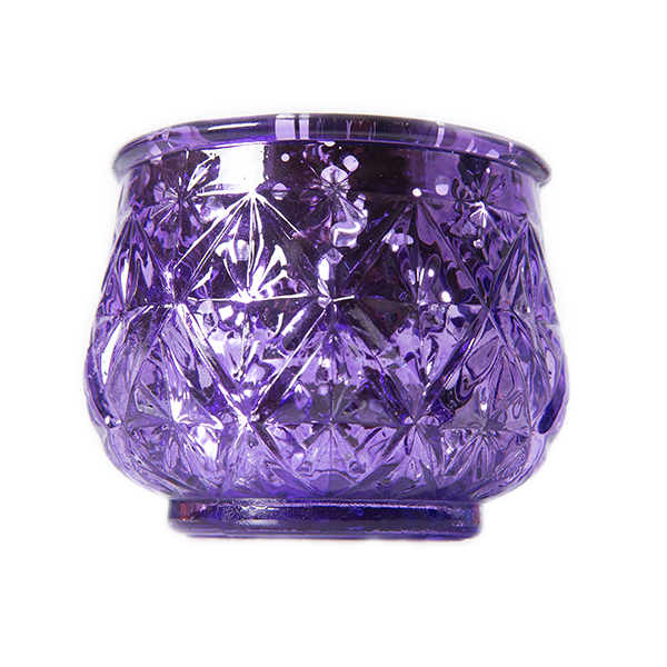 DecoStar: 2 1/2'' Glam Diamond Etched Mercury Glass Candle/Votive Holder - Purple - 6 PACK