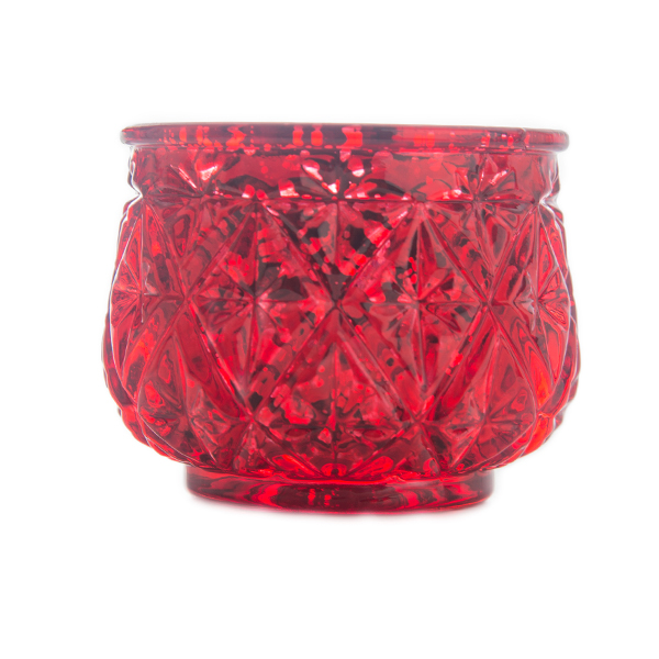 DecoStar: 2 1/2'' Glam Diamond Etched Mercury Glass Candle/Votive Holder - Red - 6 PACK