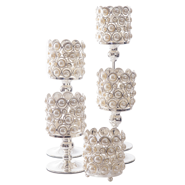DecoStar: Pearl and Chrome Candle Holder - SET OF 5!