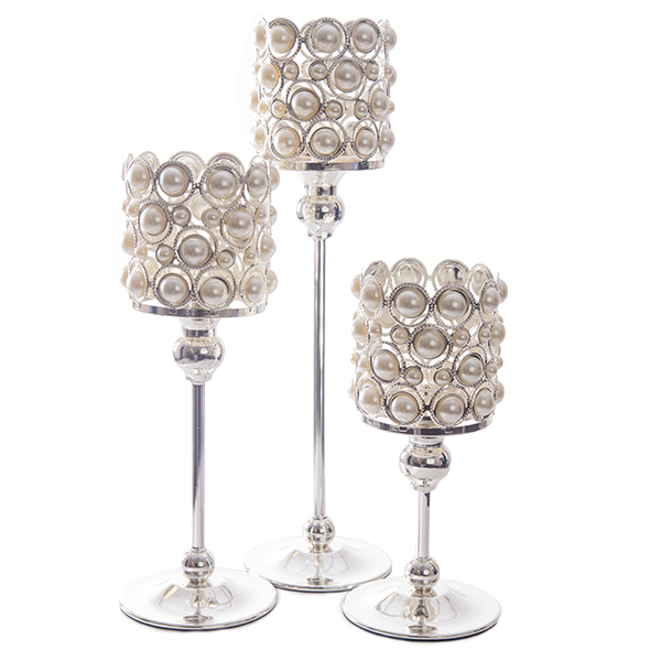DecoStar: Pearl and Chrome Candle Holder - SET OF 3!