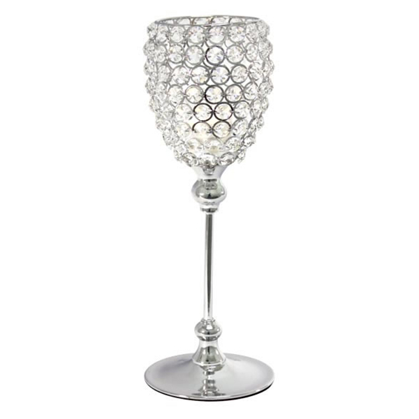 DecoStar: Real Crystal & Chrome Goblet/Candle Holder - 15'' Tall