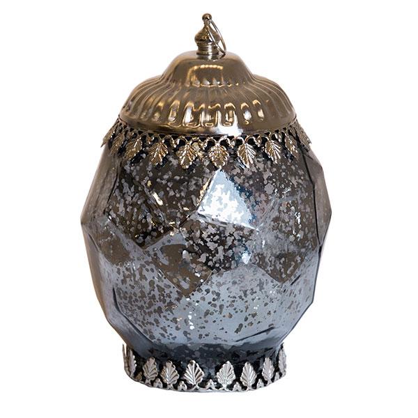 DecoStar: Pixie Jar? Gray Mercury Geometric Glass Mini Lantern - Internally Illuminated - 8'' x 5.5''