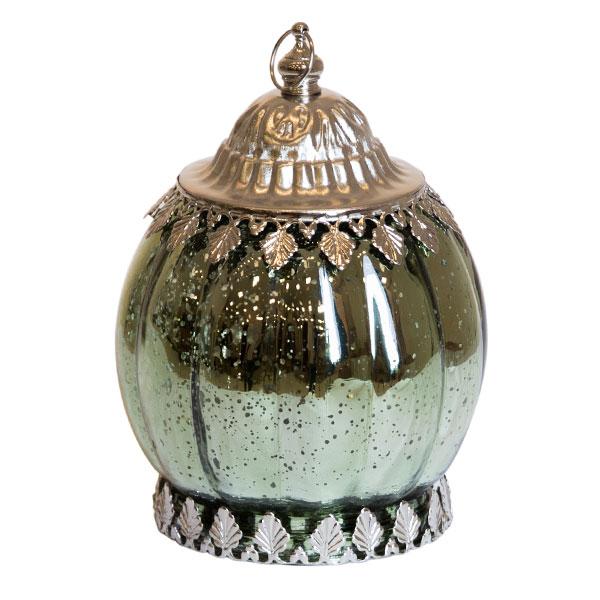 DecoStar: Pixie Jar? Green Mercury Ribbed Glass Mini Lantern - Internally Illuminated - 6.5'' x 4.3''