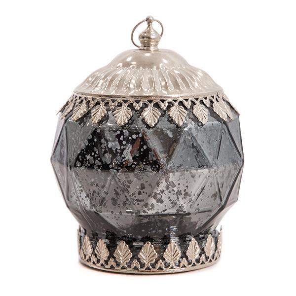 DecoStar: Pixie Jar? Gray Mercury  Diamond Glass Mini Lantern - Internally Illuminated - 6'' x 5''