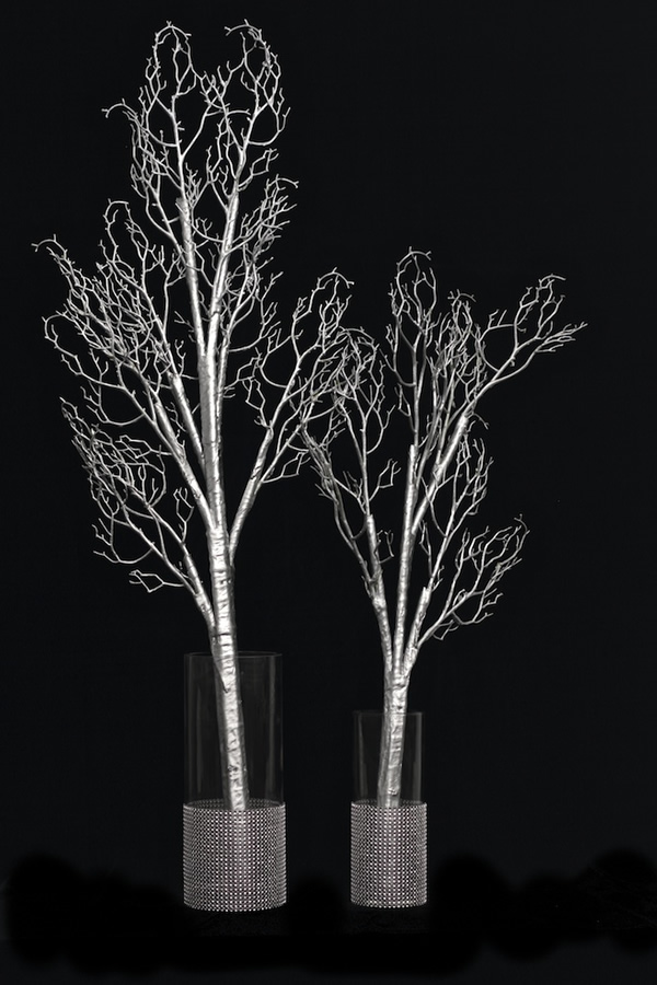 Bendable artificial manzanita branches silver small