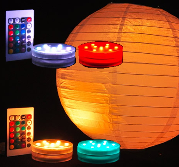 WATERPROOF! 4 PACK - Small LED Puck Light - Battery Operated W/ Remote - Multi Color