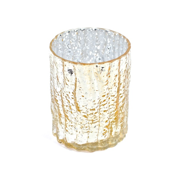 DecoStar: 4'' Glam Wavy Etched Pattern Mercury Glass Candle/Votive Holder - Gold