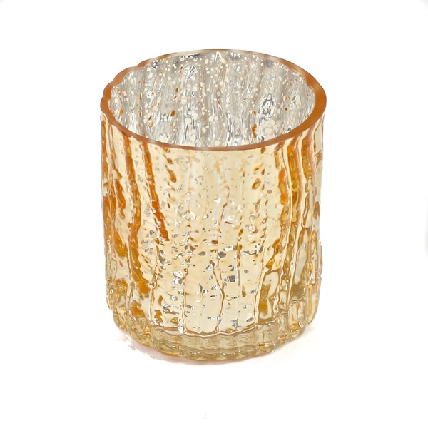 DecoStar: 3'' Glam Wavy Etched Pattern Mercury Glass Candle/Votive Holder - Gold