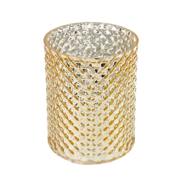 DecoStar: 5 1/2'' Glam Diamond Etched Round Mercury Bottomless Candle/Votive Holder - Gold