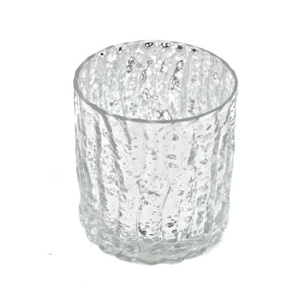 DecoStar: 3'' Glam Wavy Etched Pattern Mercury Glass Candle/Votive Holder - Silver