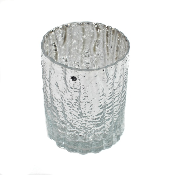 DecoStar: 4'' Glam Wavy Etched Pattern Mercury Glass Candle/Votive Holder - Silver