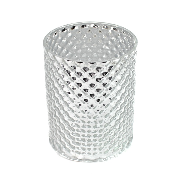 DecoStar: 5 1/2'' Glam Diamond Etched Round Mercury Bottomless Candle/Votive Holder - Silver