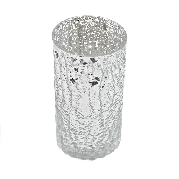 DecoStar: 6'' Glam Wavy Etched Pattern Mercury Glass Candle/Votive Holder - Silver