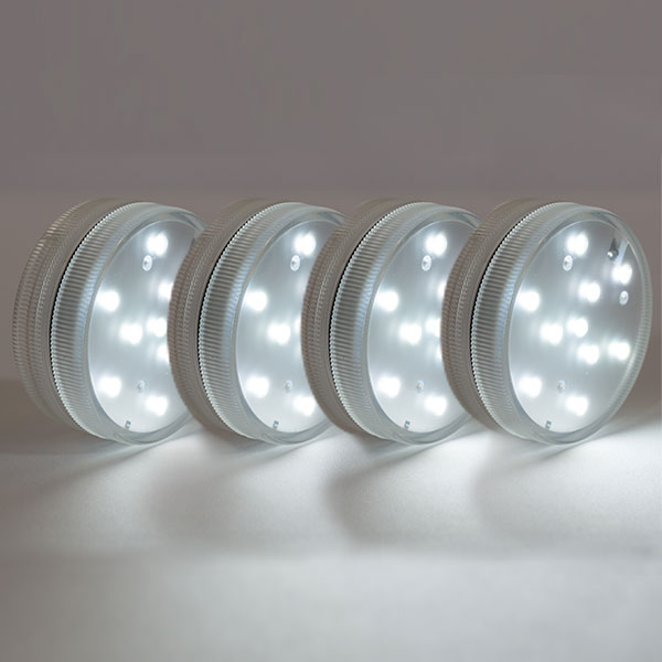 4 PACK - Small LED Puck Light - Battery Operated w/ Remote - White