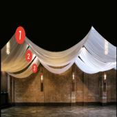 """118"""" Wide FR Sheer Voile Custom Linear Ceiling Drape Kits"""