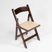 FirmFold™ Wood Folding Chair w/ Vinyl Beige Padded Seat - 1000 lb Capacity - Fruitwood
