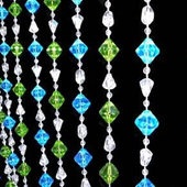 DecoStar™ 6ft Gemstone Blue & Lime Non-Iridescent Crystal Beaded Curtain
