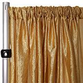 "*FR* Extra Wide Crushed Taffeta ""Tergalet"" Drape Panel by Eastern Mills 9ft Wide w/ 4"" Sewn Rod Pocket - Gold"
