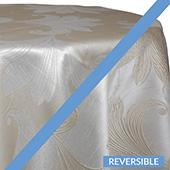 Gold - Lily Embroidered Tablecloth - DOUBLE-SIDED - MANY SIZE OPTIONS