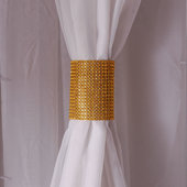 DecoStar™ Gold Rhinestone Mesh Velcro Band / Curtain Tie