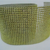 DISCONTINUED ITEM - DecoStar™ Gold Rhinestone Mesh-30 Foot Roll