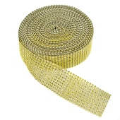 "DISCONTINUED ITEM - DecoStar™ Gold Rhinestone Ribbon - 2"" Wide x 30ft Long"