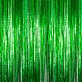 Green - Cracked Ice Fringe Curtain - Many Size Options