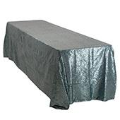 "Rectangle 90"" X 156"" Sequin Tablecloth by Eastern Mills - Premium  Quality - Grey Blue"