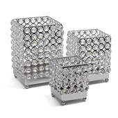DecoStar™ Real Crystal Square Candle Holder - 3 Piece Set!