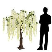 5FT Flowing Wisteria Tree w/ Leaves - Grand Centerpiece or Floor Tree - Ivory