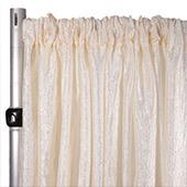 "Extra Wide Crushed Taffeta ""Tergalet"" Drape Panel by Eastern Mills 9ft Wide w/ 4"" Sewn Rod Pocket - Ivory"