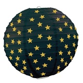 Paper Lantern - Black with Gold Stars