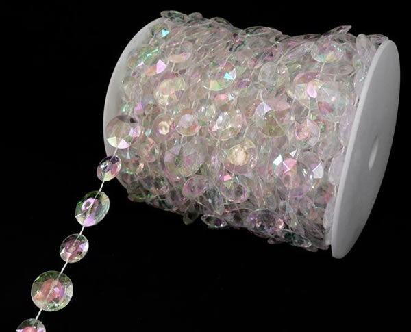 Large Iridescent Crystal Beads 66ft Roll