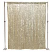 "Light Gold Sequin Backdrop Curtain w/ 4"" Rod Pocket by Eastern Mills - 8ft Long x 6ft Wide"