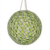 "Discontinued Item -DecoStar™ Light Green Acrylic Crystal Hanging Globe Light - 12"" w/ Light kit"