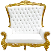 Queen Bride and Groom Throne Loveseat - White & Gold
