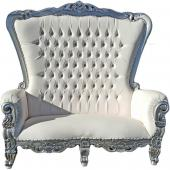 Queen Bride and Groom Throne Loveseat - White & Silver