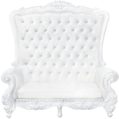 Queen Bride and Groom Throne Loveseat - White