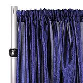 "*FR* Extra Wide Crushed Taffeta ""Tergalet"" Drape Panel by Eastern Mills 9ft Wide w/ 4"" Sewn Rod Pocket - Navy"