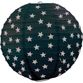 Paper Lantern - Black with Silver Stars