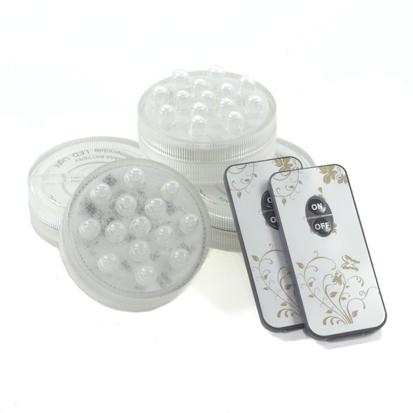 4 pack small led puck light battery operated w remote white. Black Bedroom Furniture Sets. Home Design Ideas